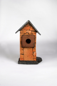 ORANGE BRICK BIRDHOUSE